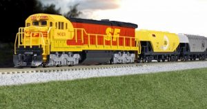 This is a closup Photograph Of An HO scale Locomotive